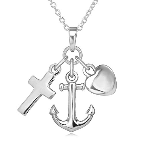 Sterling Silver Faith,Hope, Charity (Love) Pendant Necklace With 18' Chain and Jewellery Gift Box