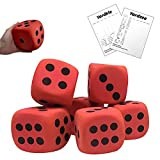 4'' Jumbo Foam Dice Set of 6 Yard Outdoor Games for Adults and Family Lawn Games Large Backyard Giant Yard Dice - Includes Elegant Carry Bag and Yardzee Yardkle Rules