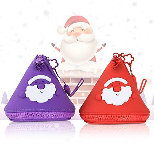 2Pcs Cute Santa Claus Coin Purse Gift Pouch Mini Wallet for Adult & Kids, 100% BPA Free Silicone, New Year Christmas Decorative, Coin/Candy/Toy/Key/Small Objects Bag for Festival & Daily (Red&Purple)