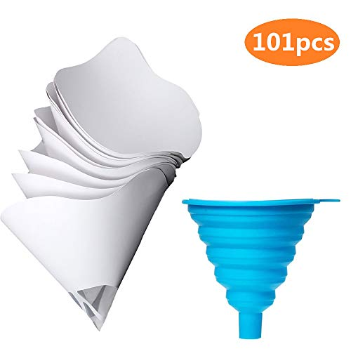 DEDC Set di 100 pz Carte da Filtro Monouso per Vernice con 1 pz Filtro in Silicone Versione Aggiornamento
