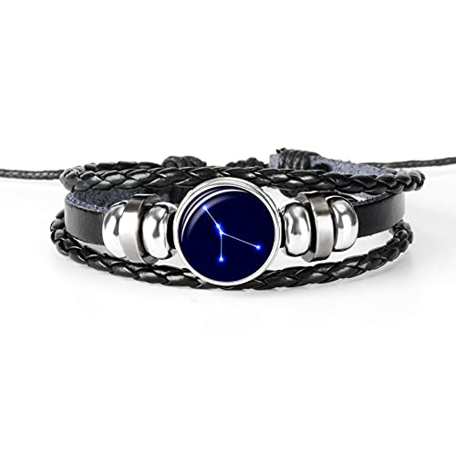 WXJ 12 Constelaciones Zodiaco Niñas Braded Pulseras de Cuero, Joyas de brazaletes para Mujer Regalo (Metal Color : Cancer)