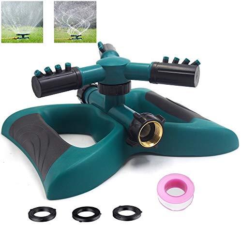 RIPPEN Garden Sprinkler,Oscillating Sprinkler,360 Degree Rotation,3 Arm Rotary Sprinkler,12 Built-in Spray Nozzles, Uses Brass Connector,Large Area Coverage Watering Sprinkler for Yard,Plant&Lawn