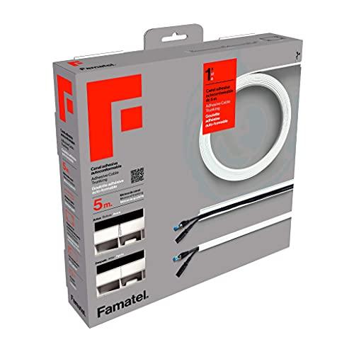 Famatel Canaleta Cables Adhesiva, 5 Metros, 10 x 16 mm, Novedad - Formato Enrollable, Rectangular, Fácil Montaje con Autoadhesivo, Canaleta para cableado, Blanco