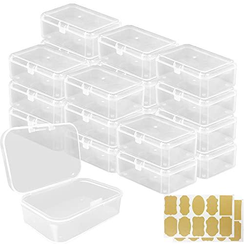 21 Pezzi Rettangolo Plastica Contenitori(6,5x4,5 x2,4cm) con Etichetta adesiva in carta kraft, Mini Trasparente Immagazzinaggio Scatola con Coperchio Incernierato per Piccoli Perline