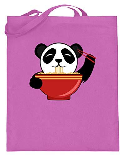 Süßer Panda-Bär Isst Chinesische Nudeln mit Stäbchen. Ist der Kleine nicht zum Knuddeln? - Jutebeutel (mit langen Henkeln)