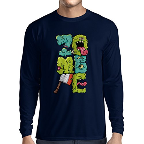 Camiseta de Manga Larga Zombi Regalo del Friki Idea para un Regalo Inusual (Medium Azul Multicolor)