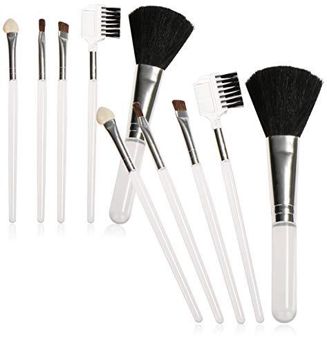 COM-FOUR® 12-delige cosmetische borstelset in een kleine tas - make-upborstels in verschillende maten - make-upborstels - wimpers en wenkbrauwborstels (12 stuks - borstel)