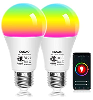WiFi Smart LED Light Bulbs, A19 E26 RGB+W Color Changing Light Bulb Works with Alexa, Google Home Assistant and IFTTT + APP Control No Hub Required 7.5W (60W Equivalent)-2 Pack
