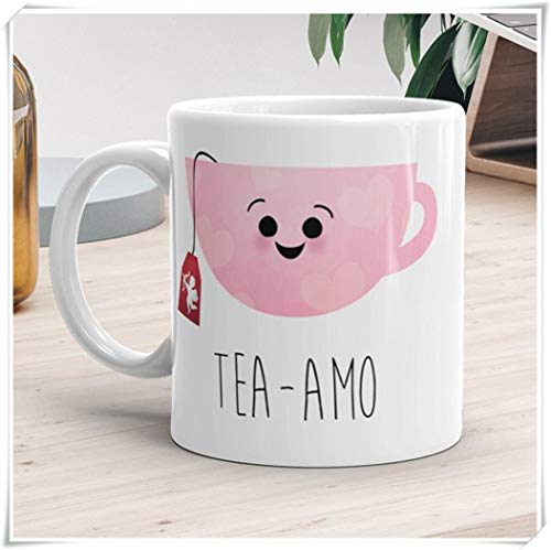 Liebesbecher - Tee-amo - Ti Amo Lustiger Teeliebhaber-Becher Geschenk-Teetasse Ich liebe dich Amor Glücklicher Valentinstag Geschenke Kaffeetassen, 11 Unzen Keramik-KaffeetasseTeetasse, Hochglanz