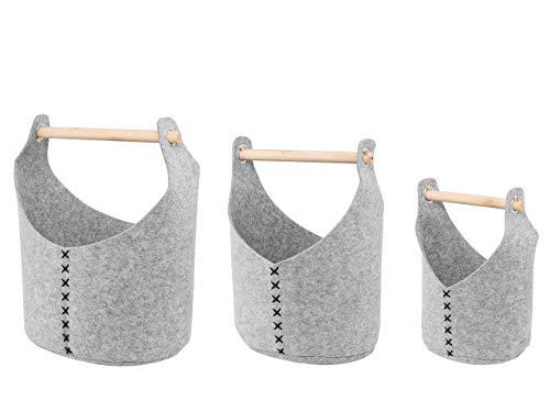 Beliani Conjunto de 3 cestas de Fieltro Gris Claro SALUR