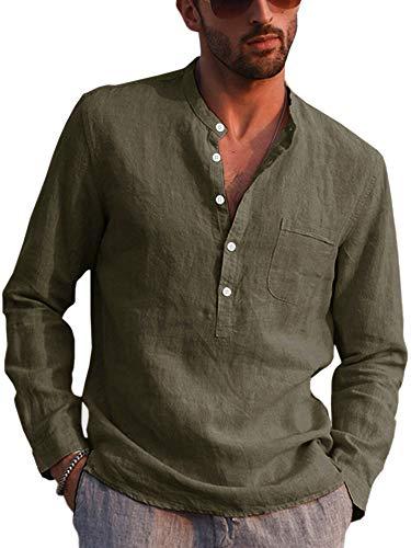 Gemijacka Hemd Herren Langarm Henley Leinenhemd Herren Freizeithemd mit Brusttasche Regular Fit Men Shirts, Grün, XL