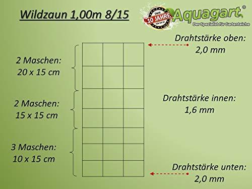 50m Wildzaun Forstzaun Weidezaun Drahtzaun Knotengeflecht 100/8/15 L und 1 Drahtspanner Gratis - 2
