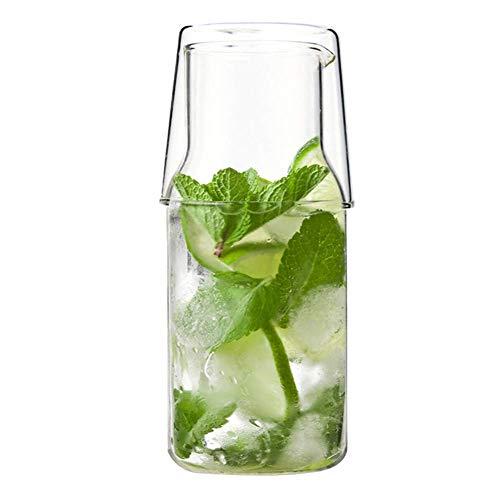 Reuvv Glas Cup mit Deckel 2 in 1 Nordische Trinken Hitzebeständig Glas Wasser Karaffe Set Kaffee Wasser Bier Tasse Set Langlebig Transparent Isolierte Borosilikatglas Konstruktion - Groß