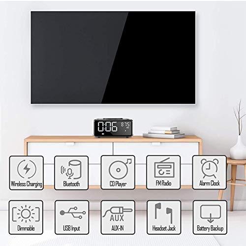 G Keni CD Player Boombox, Dual Alarm Clock Radio, QI Wireless Charger, Bluetooth Digital FM Radio, MP3/USB Music Player, Snooze & Sleep Timer, Dimmable Mirror LED Display,Black