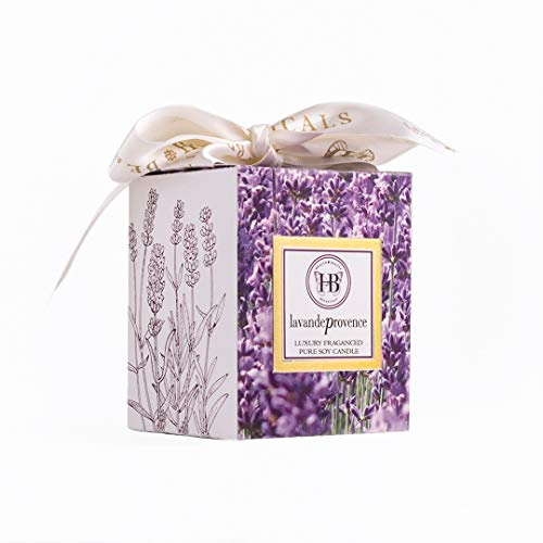 HB Botanicals Candle/Lavande Provence/Luxury Scented Soy Candles/Hand Poured/Highly Scented & Clean Burn/7.5 Oz Frosted Gold Glass/Gold Embossed Gift Box/Wood Wick/Satin Bow/Fully Gift Wrapped