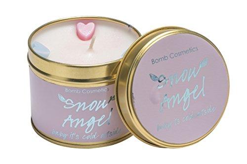 Bomb Cosmetics Bougie parfumée Snow Angel - Parfum : perce-neige, rose et violette - Contient des huiles essentielles de géranium et de rose - Convient aux végétaliens - Combustion de 30 à 35 heures