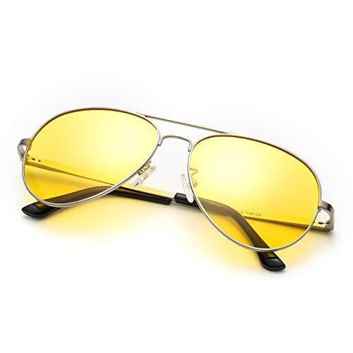 SODQW Nachtfahrbrille Gelbe Linse Anti-Glanz, HD Polarisiert Pilotenbrille Fahren Brillen, Nachtsichtbrille Autofahren 100% UVA UVB Schutz (Silber Rahmen Gelbe Linse)