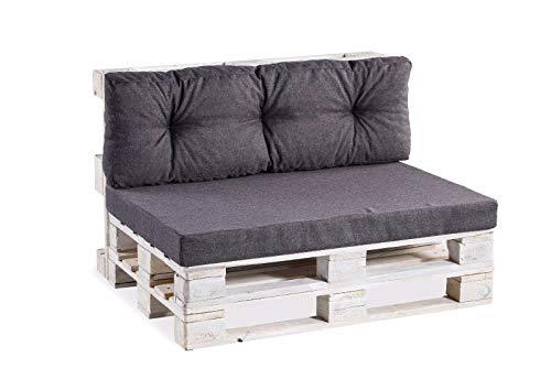 Palettenkissen Palettenauflagen Sitzkissen Rückenlehne glatt gesteppt PPF (Sitzkissen 120x80 glatt, Anthrazit)