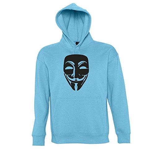 ANONYMOUS MASKE, Guy Fawkes, Acta, Vendetta KULT-Shirt - Kapuzen Sweatshirt - Pullover S-XXL , Turquoise-schwarz , XXL