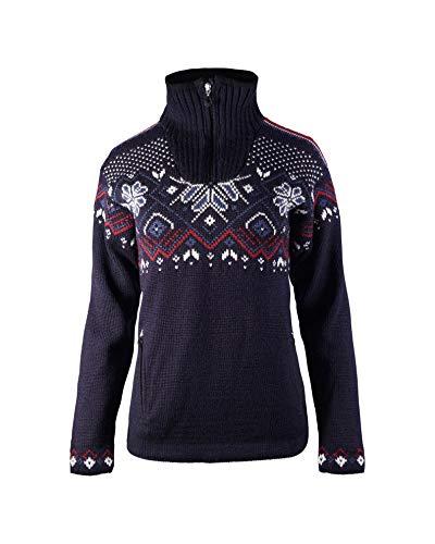 Dale of Norway Damen Pullover Fongen Wp Fem M Marineblau/Offwhite/Red Rose/Indigo