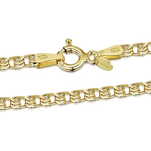 Amberta 925 Sterlingsilber Vergoldet 18K Damen-Halskette - Herzkette - 2.3 mm Breite - Verschiedene Längen: 40 45 50 55 60 cm (60cm)