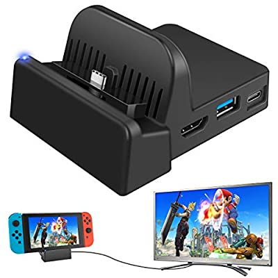 Ponkor Nintendo Switch Dock, Mini Portable Switch Docking Station HDMI 4K TV Adapter Switch Charger Dock Set Ideal Replacement for Official Nintendo Switch Charging Dock by Ponkor