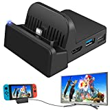 Ponkor Base de Carga para Nintendo Switch, Mini Switch TV Dock Soporte de Carga, Protable Adaptador HDMI Reemplazo de Carga para Nintendo Switch con USB 3.0 LED Light