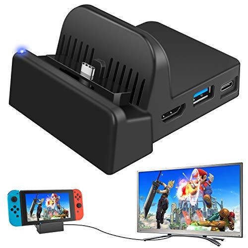 Ponkor Switch Docking Station, Switch Dock Ladestation Mini Tragbare, Kompakter Switch zu HDMI 4K Adapter,Switch Ladeständer für Nintendo Switch mit USB 3.0 und USB C