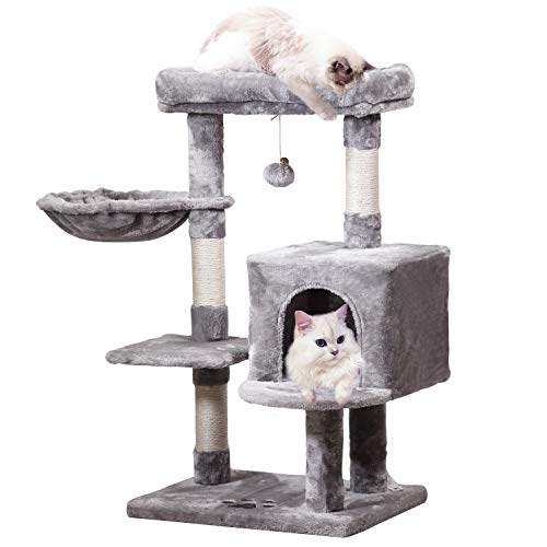 MQ Multi-Level Cat Tree Condo, Activity Center Cat Tower Furniture 36'' with Sisal-Covered Scratching Posts, Padded Plush Perch, Spacious Cat Cave & Baske for Small Kittens Adult Cats (Grey)
