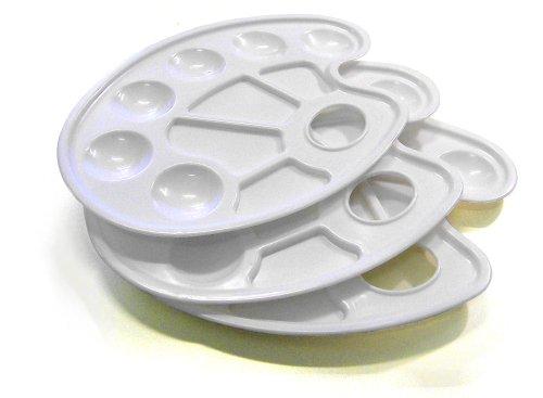 3er Pack Farbmischpaletten aus Kunststoff mit je 10 Farbmischmulden, ideal für Acryl-, Tempera- oder Gouachemalerei geeignet