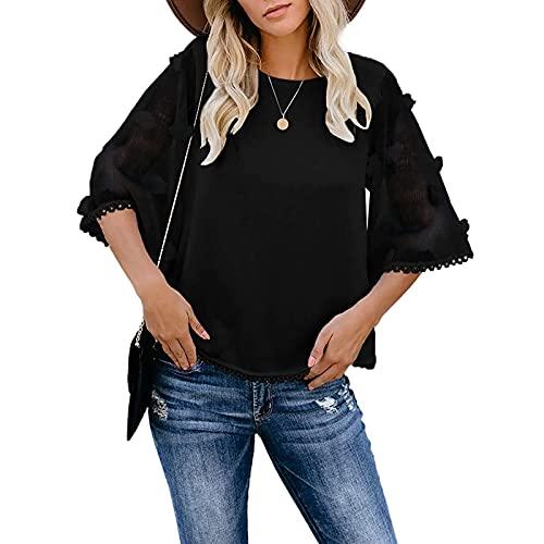 YANFANG Blusa Bordada Mujer,Verano De Las Mujeres Sheer 3/4 Bell Sleeve Crewneck Camisetas Casual Suelta Tops,Camiseta Suelto Verano Tops Fiesta T-Shirt Original tee,Negro,XL