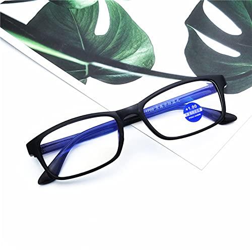 PYAN Gafas de Lectura,Gafas de Montura Negro,Lentes HD Anti-Azules,Unisex,Reducen la Fatiga Ocular,Monturas TR90, 1.50