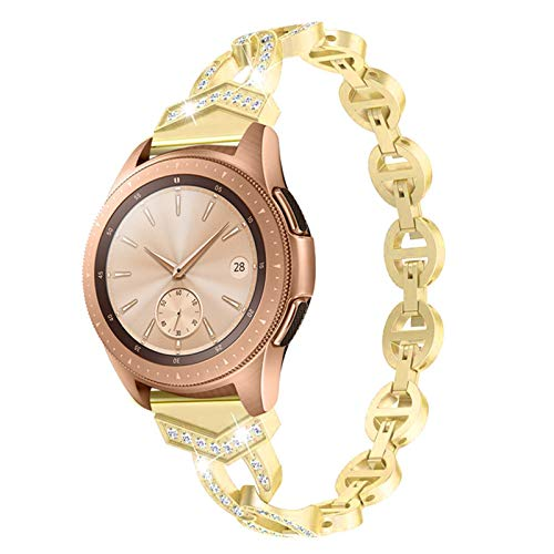 Pulsera de diamantes para mujeres para Samsung Galaxy Watch 42mm / 46mm / activo 2 1 banda para ver 3 41mm 45mm correa liberación rápida correa metálica 1033 (Band Color : Gold, Band Width : 22mm)