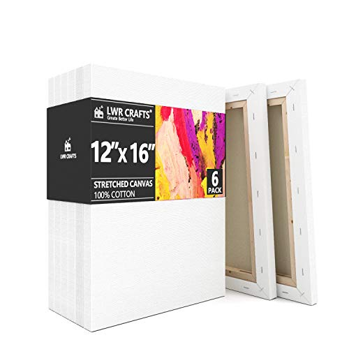 LWR CRAFTS Stretched Canvas 12quot X 16quot Pack of 6