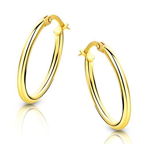 Orovi Damen-Creolen Ohrringe GelbGold Ovale Ohrringe 14 Karat / 585 Gold Creolen