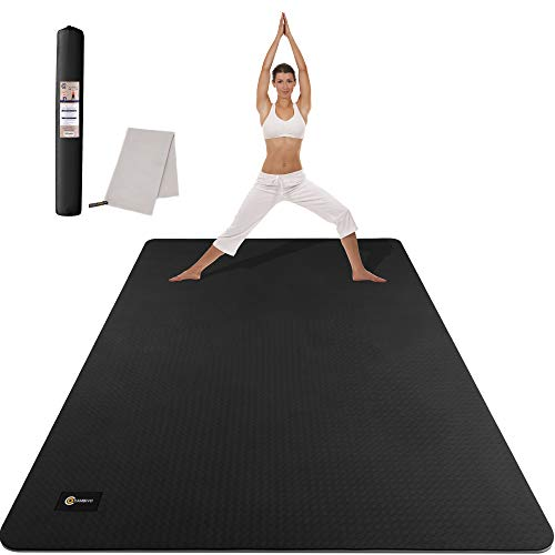 CAMBIVO Large Yoga Mat (6' x 4' x 6mm), Non-Slip Extra Wide Workout Mat, Eco-Friendly Barefoot TPE Fitness Mat, Multiple Uses for Home Gym, Workout, Yoga, Pilates (Black)