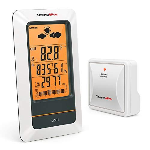 ThermoPro TP67A Oplaadbare Indoor Outdoor Thermometer Draadloos Weerstation Digitale Barometer Hygrometer Vochtigheidsmeter met Koudbestendige en Waterdichte Temperatuurmonitor, 330ft/100m Bereik