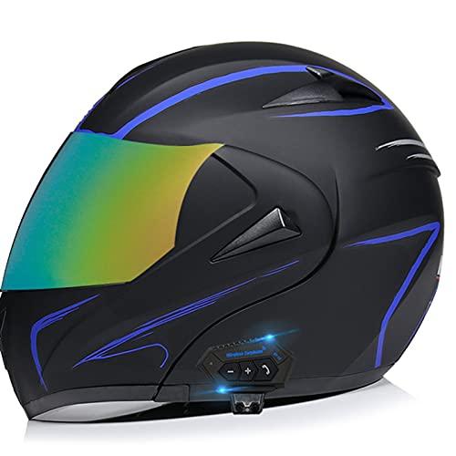 Cascos Bluetooth para motocicleta, casco modular integrado con Bluetooth, casco de motocicleta de cara completa, doble visera modular Bluetooth, casco aprobado por DOT/ECE 18, L = (57 ~ 58 cm)