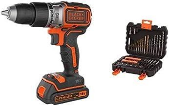 BLACK+DECKER BL188K-QW - Taladro percutor motor brushless 18V + BLACK+DECKER A7188 - Set de 50 piezas con brocas y puntas para atornillar y taladrar