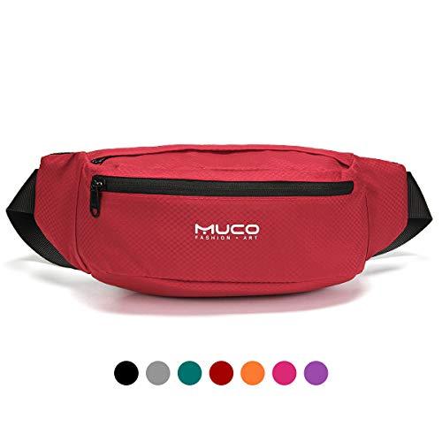 MUCO Bauchtasche Gürteltasche Hüfttasche für Damen und Herren Sporttaschen Freizeittasche Wandertaschen wasserdichte und Leichte, Nur 123g Gewicht (etwa 4,9 Unzen)