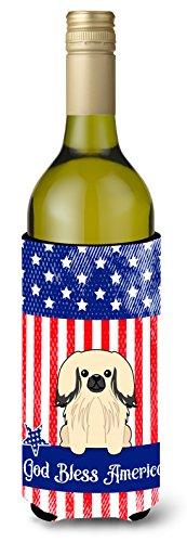 Caroline tesoros del bb3101literk patriótico EE. UU. pekingnese crema botella de vino aislante beverge Hugger, para botella de vino, multicolor
