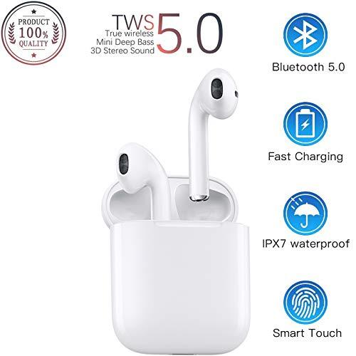 Auriculares Bluetooth 5.0,Auriculares inalámbricos,Control táctil, reducción del Ruido estéreo 3D HD, con micrófono y Estuche de Carga portátil para Todos Bluetooth de teléfonos móviles