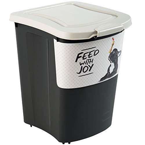 Rotho Archie, Gran contenedor de comida para mascotas 38l con tapa, rodillos y pala, Plástico PP sin BPA, negro, motivo, 38l 41.0 x 37.0 x 50.0 cm