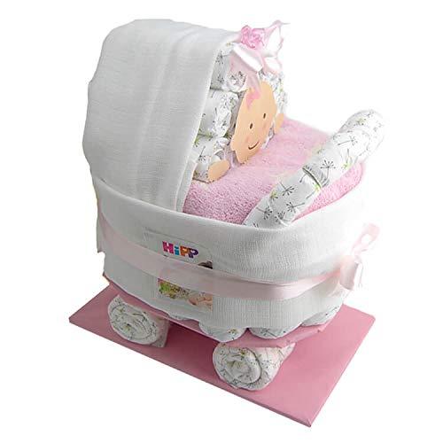 Windeltorte.com – Kinderwagen | Windeltorte in Rosa - inkl. 36 LILLYDOO Windeln | Geschenk zur Geburt | Taufgeschenk | Geschenk zur Babyparty – handgefertigt (Mädchen)