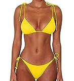 JFAN Bikini de Lazo Acanalado para Mujer Traje de Baño Brasileño con Parte Inferior Descarada