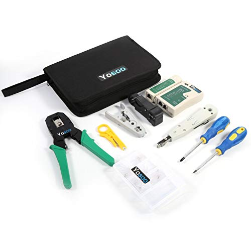 Network Tool-RJ45 RJ11 Crimper Cable Tester Cutter Punch Tool Destornillador Juego de redes
