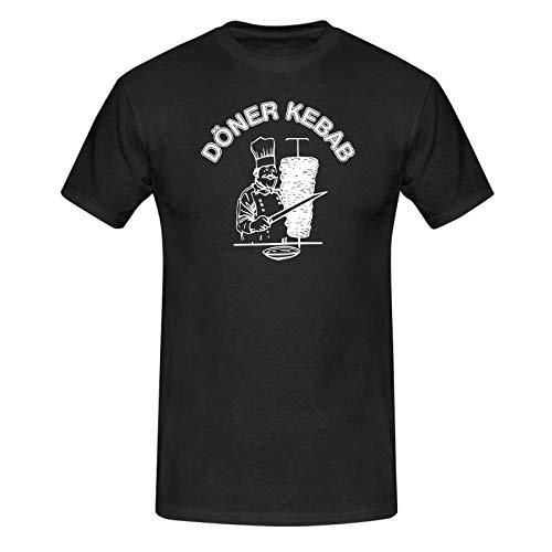 T-Shirt Döner Kebab Imbiss Karneval Party Kostüm lustig 13 Farben Herren XS-5XL Fun-Shirt Fasching Verkleidung kreativ, Größe: M, Farbe: schwarz
