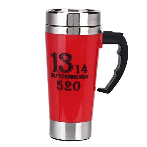 500 ml automatische zelf roerende mok, roestvrijstalen mengbeker voor koffie/thee/warme chocolademelk/melk/cacao-eiwit(Rood)