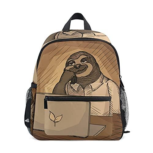Mini mochila de la escuela bolsa de la universidad para los niños niñas perezoso oficina trabajador dibujos animados