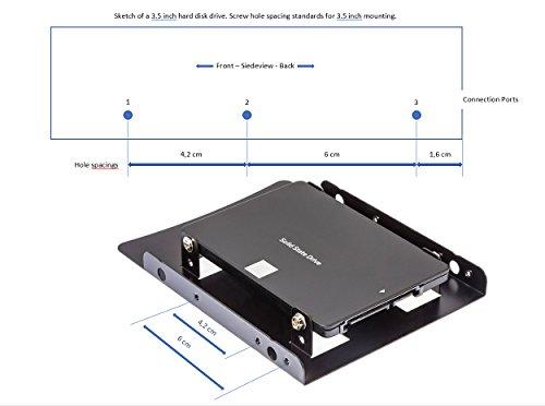 Poppstar Einbaukit, HDD SSD Einbaurahmen und Halterung für interne 2,5 Zoll Festplatten, inkl. Schrauben, Sata 3 Daten und Stromkabel (Sata-Molex)